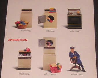 1986 Maytag Household Appliances, Vintage Print Ad, Lonely Maytag Repairman