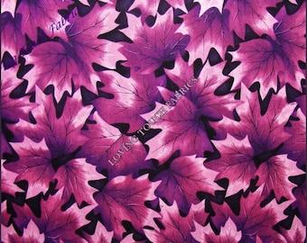 "Rare 2003 Kona Bay / Seattle Bay Purple Leaves Cotton Fabric 1/2 Yd 18"" x 44"""