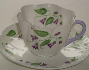 Shelley Purple CAMUPANULA Dainty Shape Cup & Saucer - RARE #13886