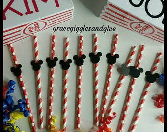 12 Mickey Mouse Straws, Mickey Party Straws, Baby Shower Drinking Straws