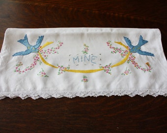 Linen Pillowcase Embroidered Bluebirds and Flowers Crochet Edge - Mine