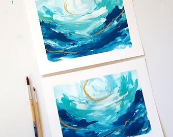Take Me To The Sea Series - 8x10 Acrylic on Heavyweight Acid Free Paper, Abstract Art, Bright Home Decor, Wall Decor, Interiors, Beach Decor