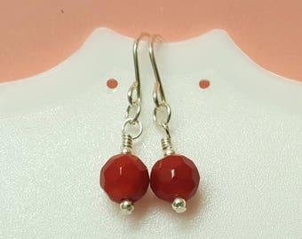 Coral Earrings, Red Coral Earrings, Coral Jewellery, Natural Coral, Gemstone Earrings, Silver Earrings, Dangle Earrings, Gift For Her