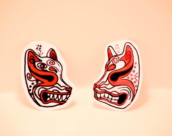 3x Two Kitsune Mask Stickers