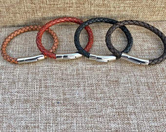 Leather Gifts Mens Leather Bracelet Stainless Steel Magnetic Clasp Mens Bracelet Leather Bracelet Men Gifts under 20 CS3