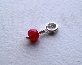 Faceted  Ruby Gemstone Dangle Charm