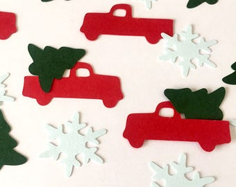 Pickup Confetti, Country Christmas Pine Snowflake Winter Wedding Party, Table Sprinkles, Tree Trimming, Scrapbook, Card Making Color Options