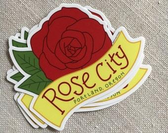 Rose City Vinyl Sticker / Portland Oregon Modern Sticker / Cool Laptop Sticker / Illustrated Sticker / Waterproof Vinyl Car Sticker