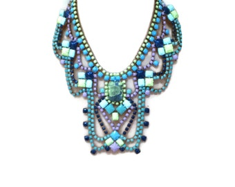 LIME SPLICE lime green, turquoise, purple and blue hand painted rhinestone statement bib necklace