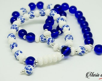 Beaded Bracelet - Blue and White Beads