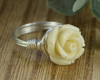 Cream Rose Ring - Sterling Silver, Yellow or Rose Gold Filled Wire/Antique White Carved Gemstone Flower- Size 4 5 6 7 8 9 10 11 12 13 14