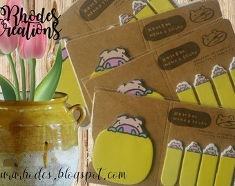 Kohem Memo and Sticky Memo Pad and Sticky Tags* Yellow Pig*Korean Stationery Set*One package