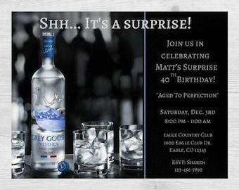 Vodka Birthday Party Invitation / Vodka Party / Vodka Invitation / Liquor / Mens / 40 / 30 / 50 / Birthday Party Invitation / Mens Invite