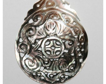 Big Carved MOP Pendant 67x57mm.Approx Brown  Mother Of Pearl