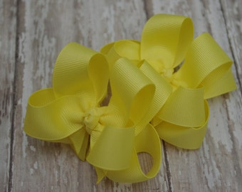 """Girls Hair Bows Yellow Boutique 3"""" Double Layer Hairbows Set of 2 Pigtail Bows"""