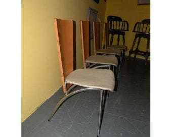 Mid Century Modern Wood & Chrome Industrial Chairs - 4