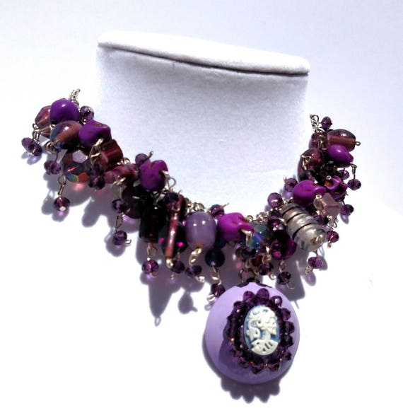 Purple Cameo Necklace with Chunky Purple Glass Beads and Dome Pendant with Skeleton Cameo