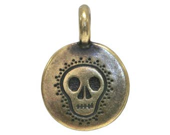 3 TierraCast Skull 5/8 inch ( 17 mm ) Brass Plated Pewter Charms