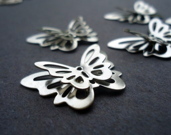 Stainless Steel 3D Butterfly Pendants / Links - Silver Color - Set of 5