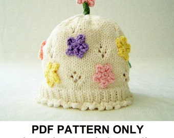 Knitting Pattern - Girls Flowered Hat Knitting Pattern - the JULIA Hat (Newborn, Baby, Toddler, Child & Adult sizes incl'd)