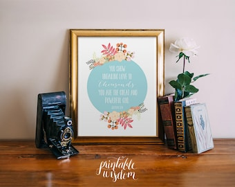 Bible Verse wall art, printable Scripture Print floral Christian wall decor poster, inspirational, Jeremiah 32:18 INSTANT DOWNLOAD
