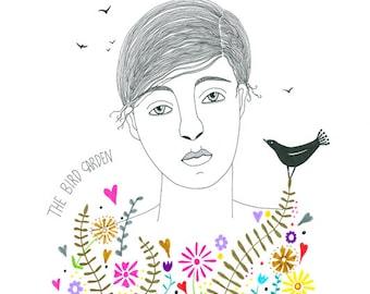 Original drawing woman with flowers, Original art bird drawing, Graphic art, Original illustration flower garden, Multicolored ink art