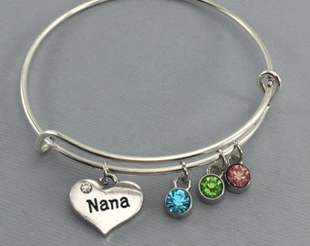 Nana - Gift for Nana - Charm Bracelet - Bangle Bracelet - Personalized Jewelry - Gift for Her - Mothers Day  - Gift for Grandmother