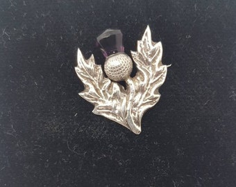 Charming Scottish Sterling Silver Thistle Brooch with Amethyst Stone