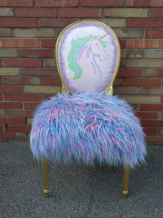 Pink and Purple Faux Fur Unicorn Chair