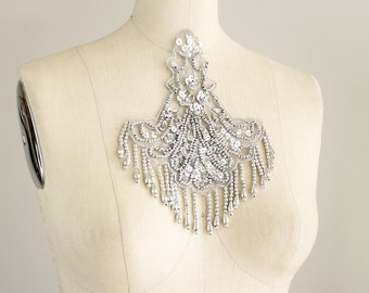 Silver Beaded And Sequin Fringe Applique / Available in Black, White, Red, Blue & Pink / Vintage Flapper Style / Bridal / Wedding