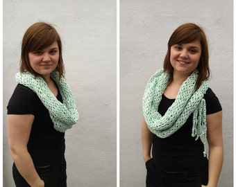 Light green cowl with bow, made from t-shirt yarn, OOAK, infinity scarf, knit green cowl, knit green scarf, green scarf, knit cotton cowl