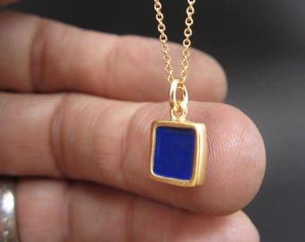 Gold and Cobalt Necklace-Reversible Enamel and Vermeil Necklace in Dark Green and Cobalt