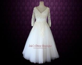 Retro Wedding Dress Tea Length Wedding Dress Long Sleeves Wedding Dress Vintage Wedding Dress | Joycelyn