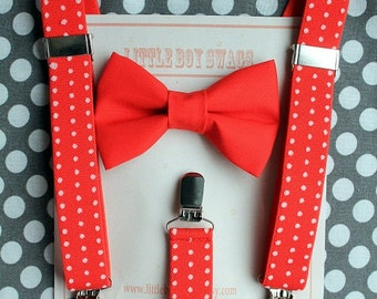 Boys Bow Tie, Boy Red Suspenders,  Boys Christmas Outfit, First Birthday Boy, Ring Bearer Outfit, Cake Smash Bow Tie, Toddler Bow Tie, Gift