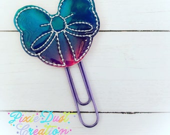 Holographic Heart vinyl clip - party favors-bookmarks-childrens gift-princess-planner-hairclip-finger puppet-pencil topper