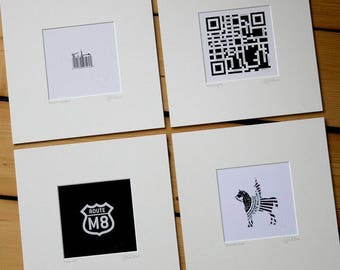 Set of four: QR, M8, Barcode & Chocolate Cone.