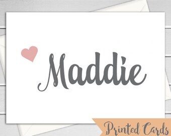 Name Note Cards Folded - 6pk, Personalized Folded Cards with Envelopes (NC-015F)