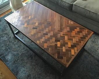 Reclaimed Walnut + Steel Coffee Table