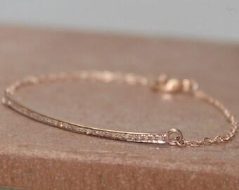 Pave Diamond Bar Bracelet, Rose Gold Filled, Genuine Diamonds
