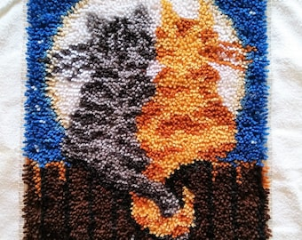 "Moonlight Cats Latch Hook Rug, Finished/Completed, 15""x20"""