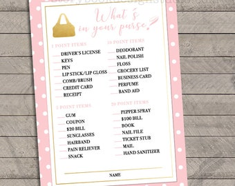 Gold Baby Pink What's In Your Purse Baby Shower Game, instant download, you print