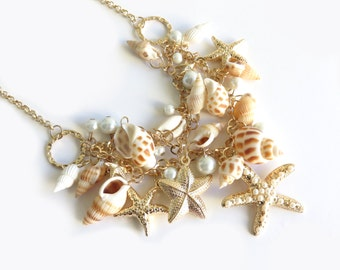 Starfish Sea Shell Gold Statement Necklace