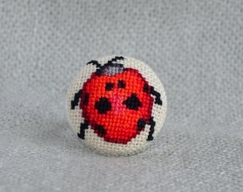 Ladybug ring, Cross stitch ring, Embroidered jewelry, Unique ring, Red ring, Round ring, Women gift, Red jewelry, Ladybug jewelry