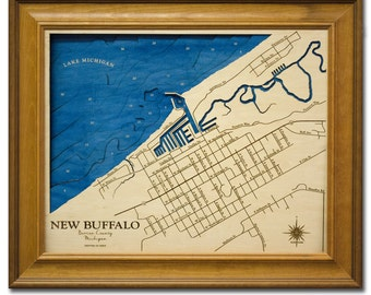 New Buffalo Michigan Dimensional Wood Carved Depth Contour Map - Customize With Your Home Information