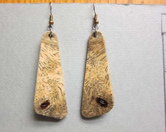 Rare, Sindora Burl Exotic Wood Dangle Earrings ExoticWoodJewelryAnd handcrafted ecofriendly