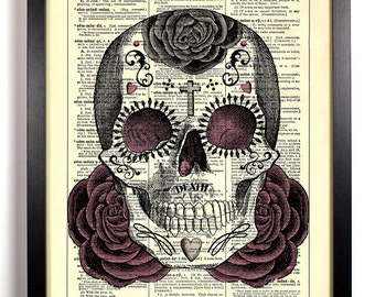 Sugar Skull Day of the Dead, Home, Kitchen, Nursery, Office Decor, Wedding Gift, Eco Friendly Book Art, Vintage Dictionary Print 8 x 10 in.