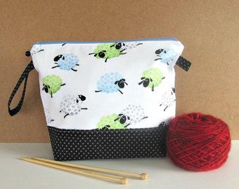 Zipper knitting bag, Reusable Crochet project bag, Sheep yarn bag, Socks knitting tote, large cosmetic bag