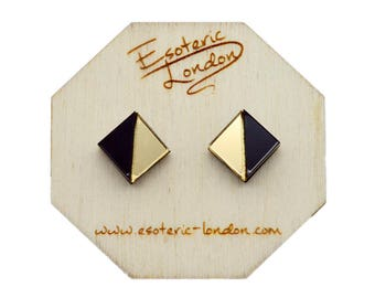 Geometric Stud Earrings/ Acrylic Jewellery/ Mirror Studs/ Geo Studs/ Classic Earrings/ Black and Gold Studs/ Chic Earrings
