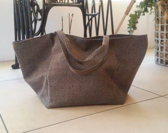 grey herringbone fabric bag or large purple