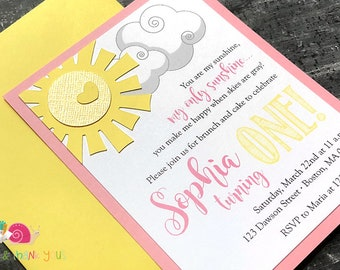 You Are My Sunshine Invitations · A2 LAYERED · Blossom Pink and Yellow · Handmade Party Invites   Sunshine Baby Shower   First Birthday